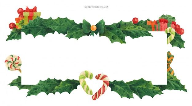 Borde de acebo de navidad con bastones de caramelo y regalos, acuarela trazada