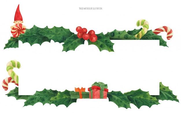 Borde de acebo de navidad con bastones de caramelo y regalos, ilustración acuarela