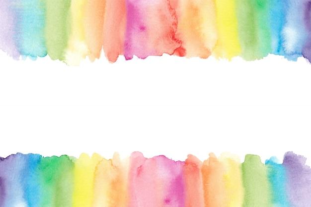 Borde de acuarela arco iris. fondo de arco iris pintado