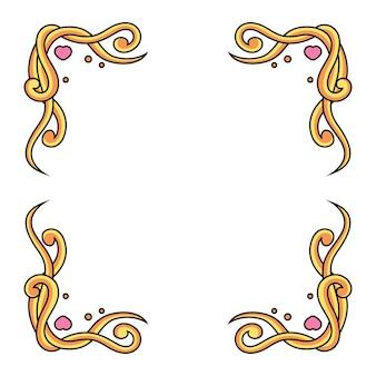 Borde amarillo con amor. marco de decoración, aislado sobre fondo blanco.
