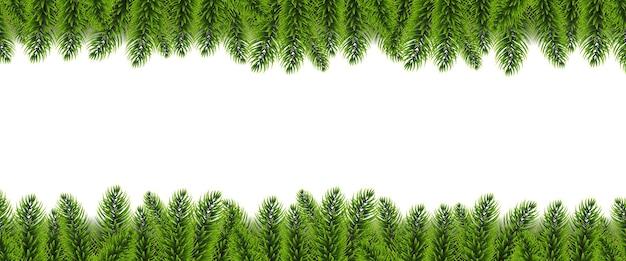 Borde de árbol de abeto de navidad y fondo blanco con malla de degradado