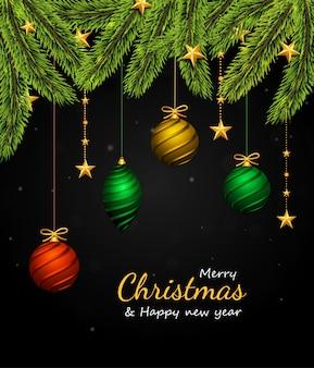 Borde de árbol de navidad y decoración