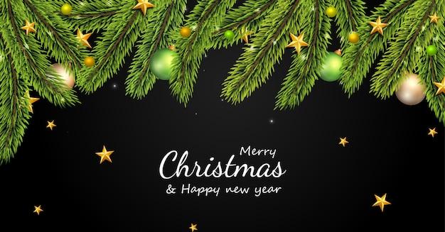 Borde del árbol de navidad con tarjeta de decoración navideña