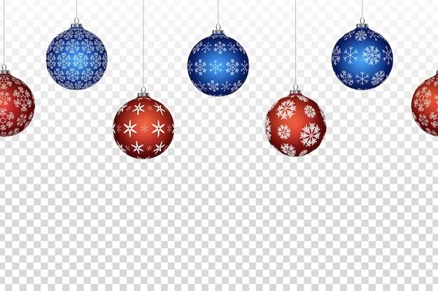 Borde de bolas de navidad transparente aislado realista para decoración de plantilla e invitación que cubre en el fondo transparente