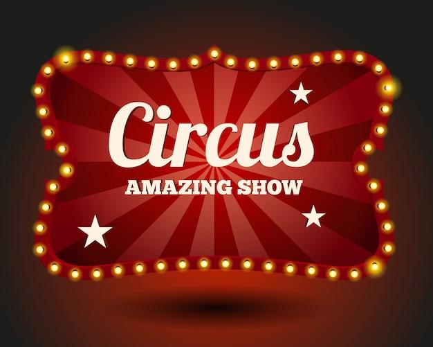Borde de bombilla de circo. vintage y entretenimiento, rojo y evento