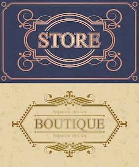 Borde caligráfico de tienda y boutique, monograma de caligrafía flourish de tienda retro,