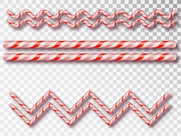 Borde de caramelo de navidad aislado. diseño de navidad en blanco, marco realista de cordón trenzado rojo y blanco.