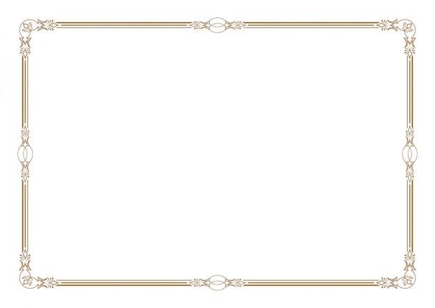 Borde de certificado en blanco, listo para agregar texto, en color dorado