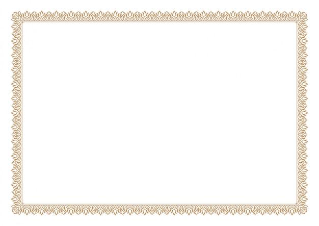 Borde de certificado en blanco
