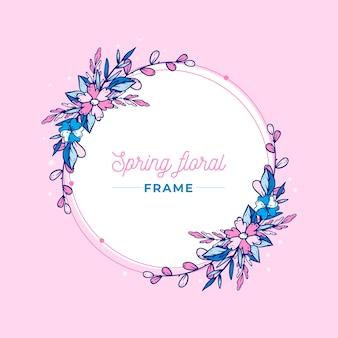 Borde circular floral de primavera dibujado a mano