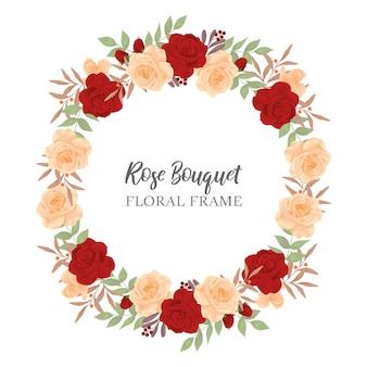 Borde del círculo de flor rosa