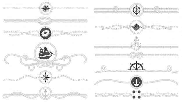 Borde de cuerda náutica. línea de cuerdas atadas náuticas, divisor de ancla de barco de mar y conjunto de bordes de decoración marina retro aislado