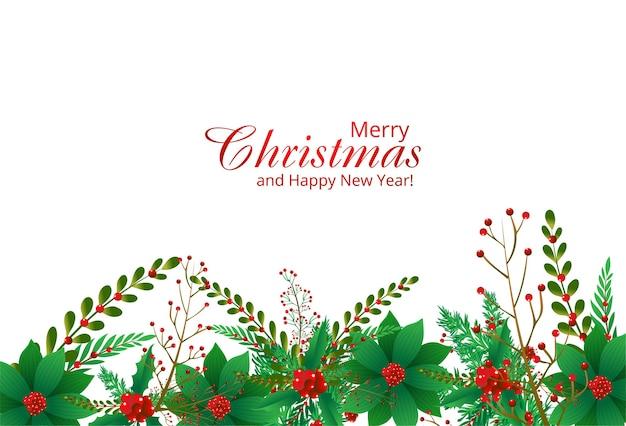 Borde decorativo de un fondo de ramas de adornos navideños