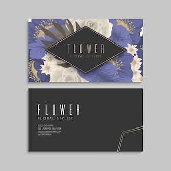 Borde de diseños florales - flores azules
