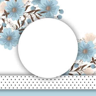 Borde de diseños florales - flores de color azul claro