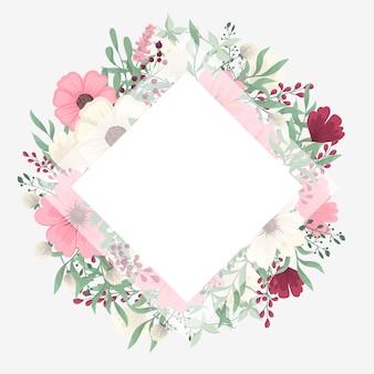 Borde de diseños florales - flores rosadas