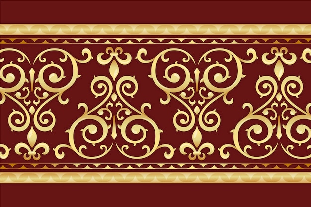 Borde dorado ornamental con fondo rojo.