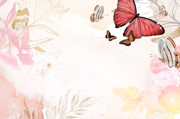 Borde estético de fondo de mariposa con vector de flores, remezclado de imágenes de dominio público vintage