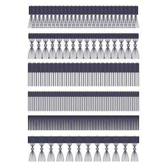 Borde de flecos con cepillo y borla conjunto de vectores de bordes sin costura aislado en un fondo blanco.