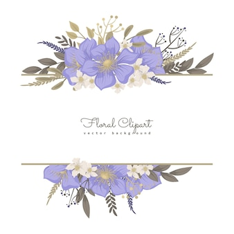 Borde floral con dulces flores púrpuras