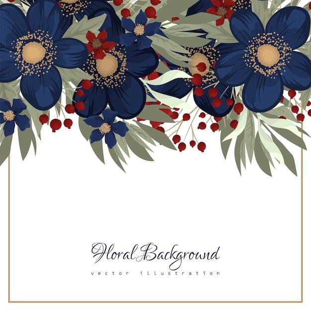 Borde floral flor azul