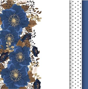 Borde floral flores azules