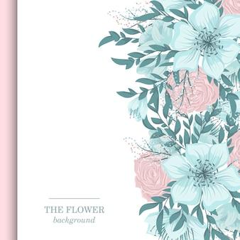 Borde floral con flores dulces