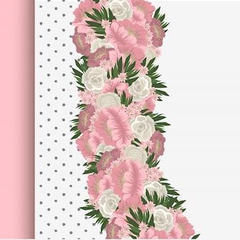 Borde floral con flores rosas y blancas