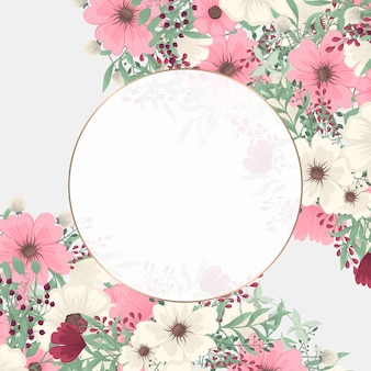 Borde floral de fondo - flor rosada