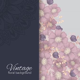 Borde floral fondo flores oscuras marco