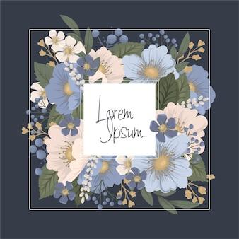 Borde floral - marco azul con flores