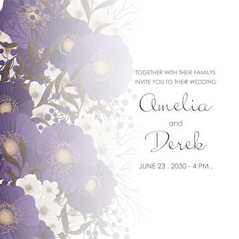 Borde floral oscuro de la boda