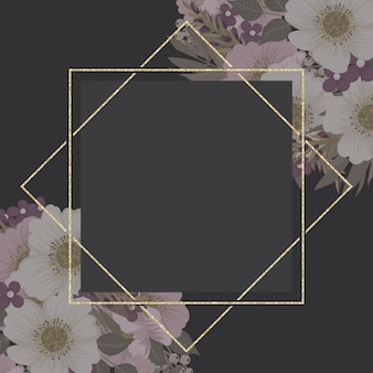 Borde floral, plantilla de marco dorado