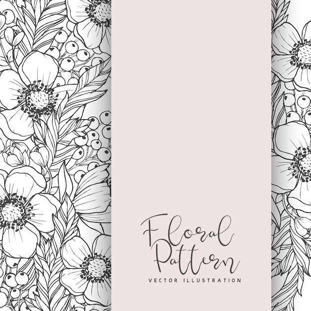 Borde de flores dibujo blanco y negro