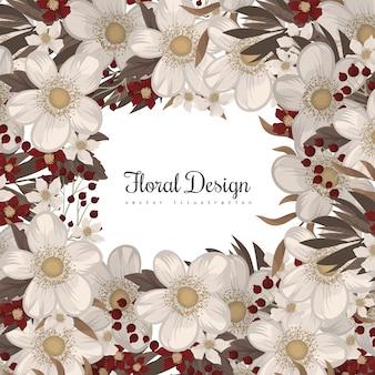 Borde de flores dibujo marco rojo