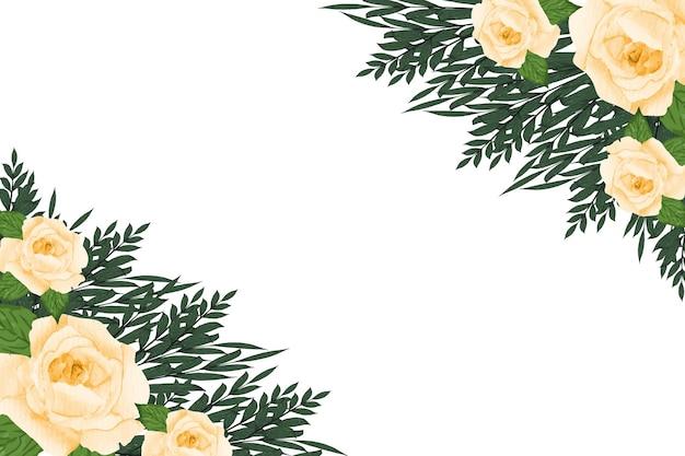 Borde de flores con diseño de corona de marco de acuarela de flor rosa acuarela