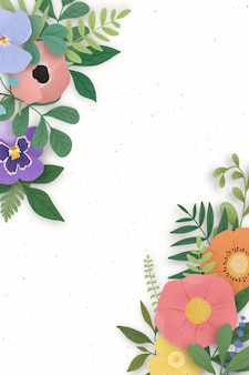 Borde de flores sobre un fondo blanco