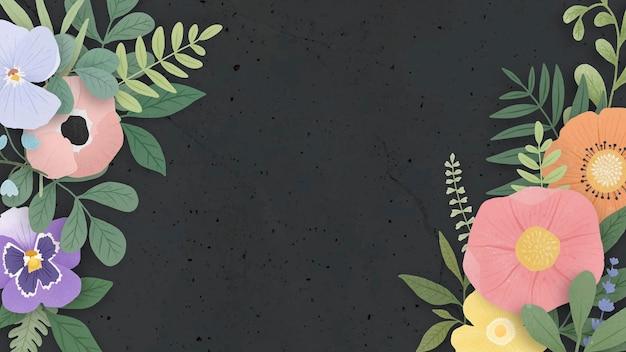 Borde de flores sobre un fondo negro