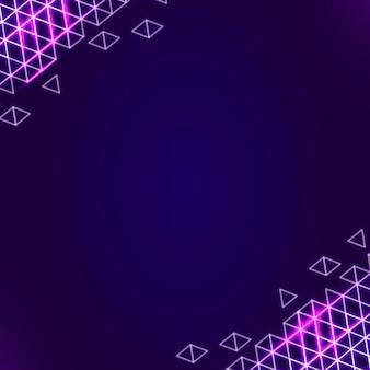 Borde geométrico de neón en un cuadrado morado oscuro