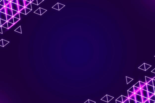 Borde geométrico de neón sobre un fondo morado oscuro
