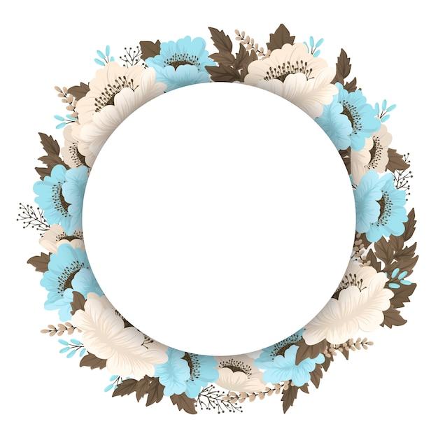 Borde de guirnalda floral azul claro