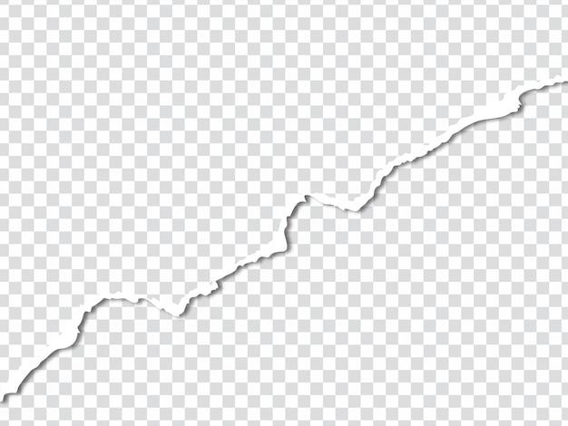 Borde de la hoja de papel rasgado rasgado en vector de fondo transparente