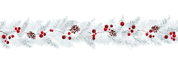 Borde horizontal con ramas de pino y bayas sobre fondo blanco. adecuado para decoración en festivales de navidad, diseño de encabezados, portadas, tarjetas de felicitación o invitaciones.