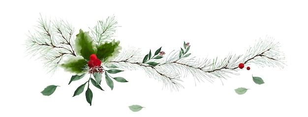 Borde horizontal con ramas de pino verde y bayas de acebo sobre fondo blanco. adecuado para decoración en festivales de navidad, diseño de encabezados, portadas, tarjetas de felicitación o invitaciones.