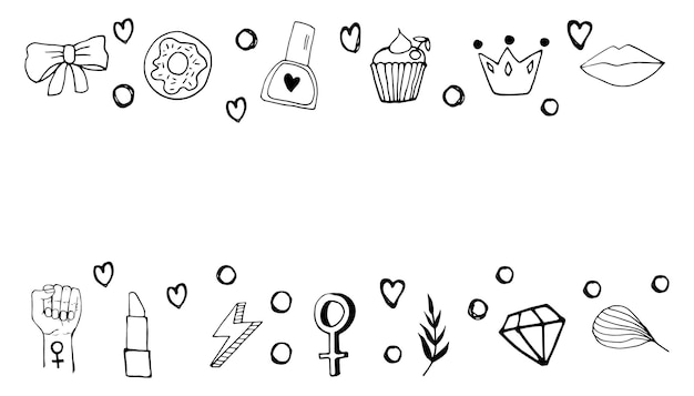 Borde lindo con símbolos de feminismo y movimiento de positividad corporal. dibujado a mano elementos de doodle, pegatinas, frase y letras. diseño de concepto de mujeres.