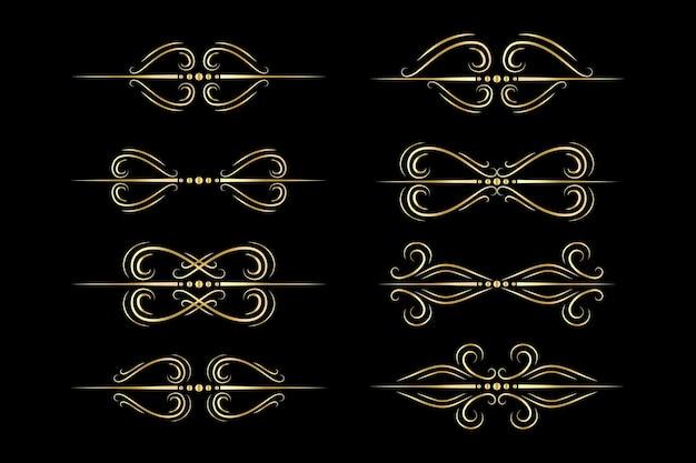 Borde de línea dorada divisor en negro.