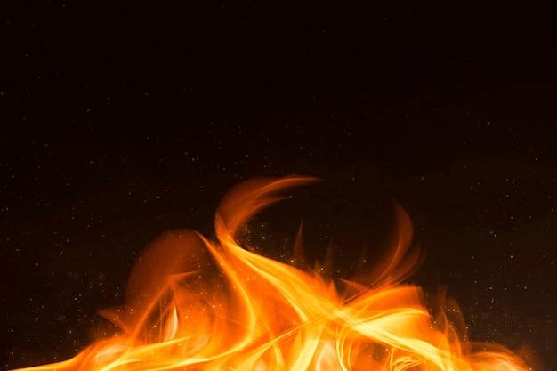 Borde de llama de fuego naranja retro