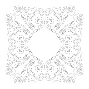 Borde y marco con estilo barroco. color blanco y negro. decoración de grabado floral