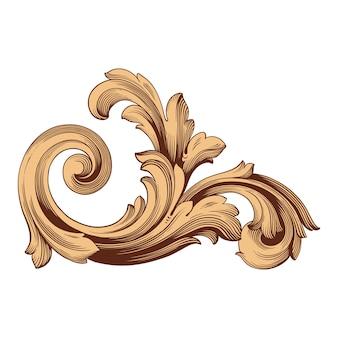 Borde y marco con estilo barroco. color dorado. decoración de grabado floral