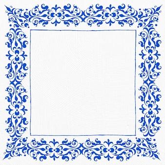 Borde de marco de filigrana azul